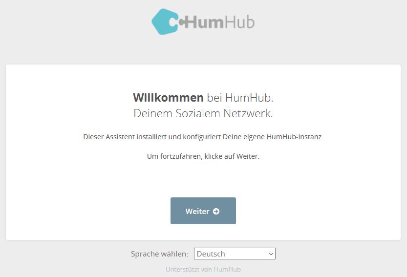 HumHub Social-Intranet Open-Source Installation Schritt 1