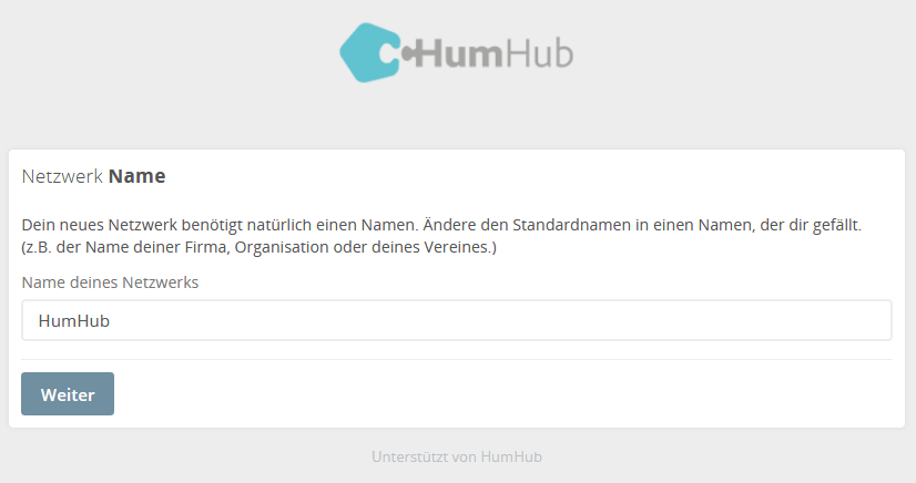HumHub Social-Intranet Open-Source Installation Schritt 4