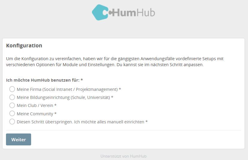 HumHub Social-Intranet Open-Source Installation Schritt 5