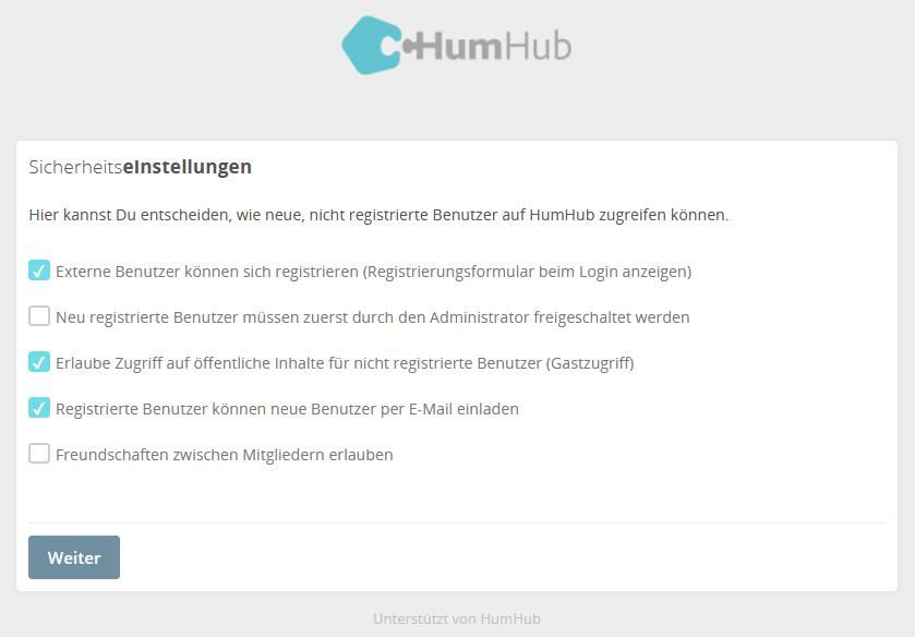 HumHub Social-Intranet Open-Source Installation Schritt 6