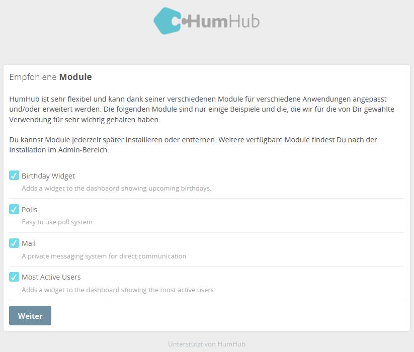HumHub Social-Intranet Open-Source Installation Schritt 7