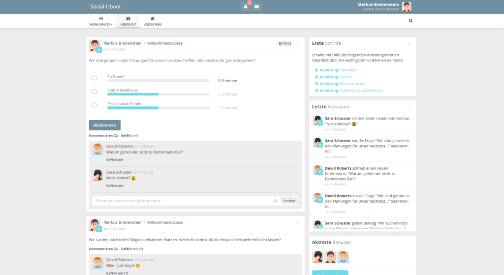 HumHub Social-Intranet Open-Source Mitgliederbereich mit Beispieldaten